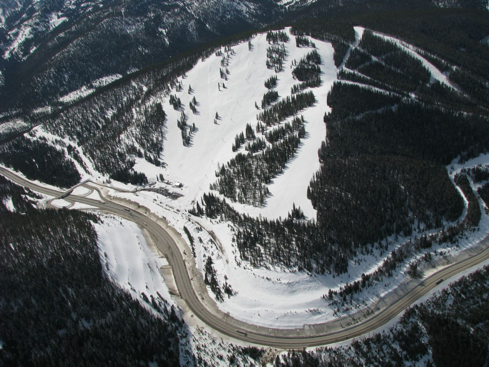 Aerial photo of the the ski hill