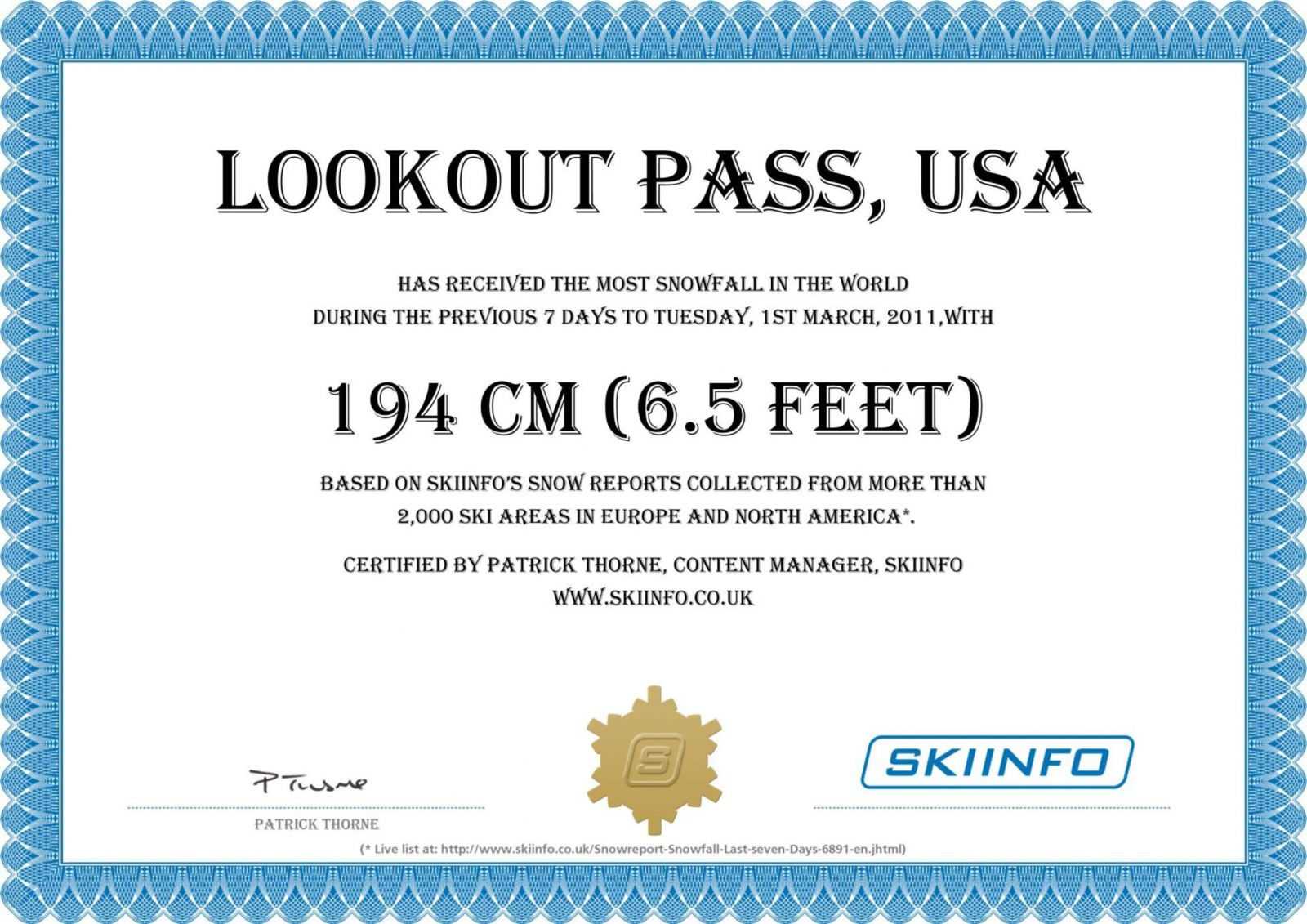 Lookout Pass, USA, snowfall award
