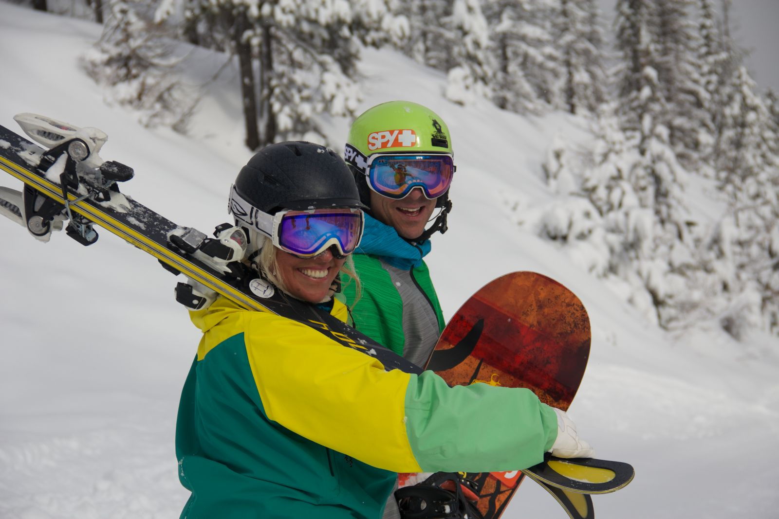 Skier and snowboarder excited to hit the slopes