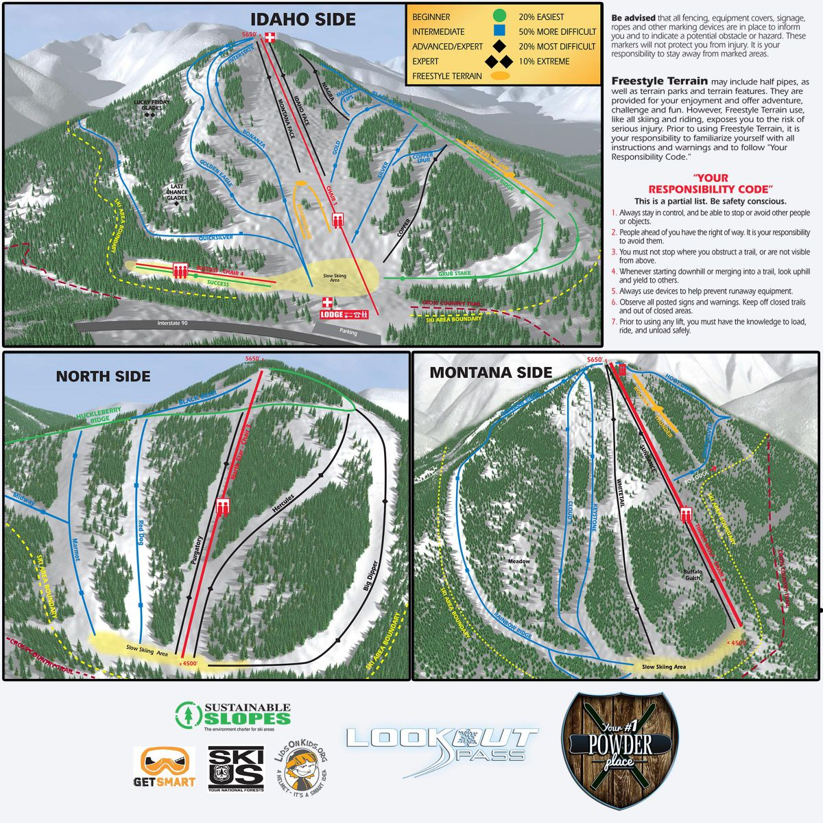 Various angles of Lookout Pass map